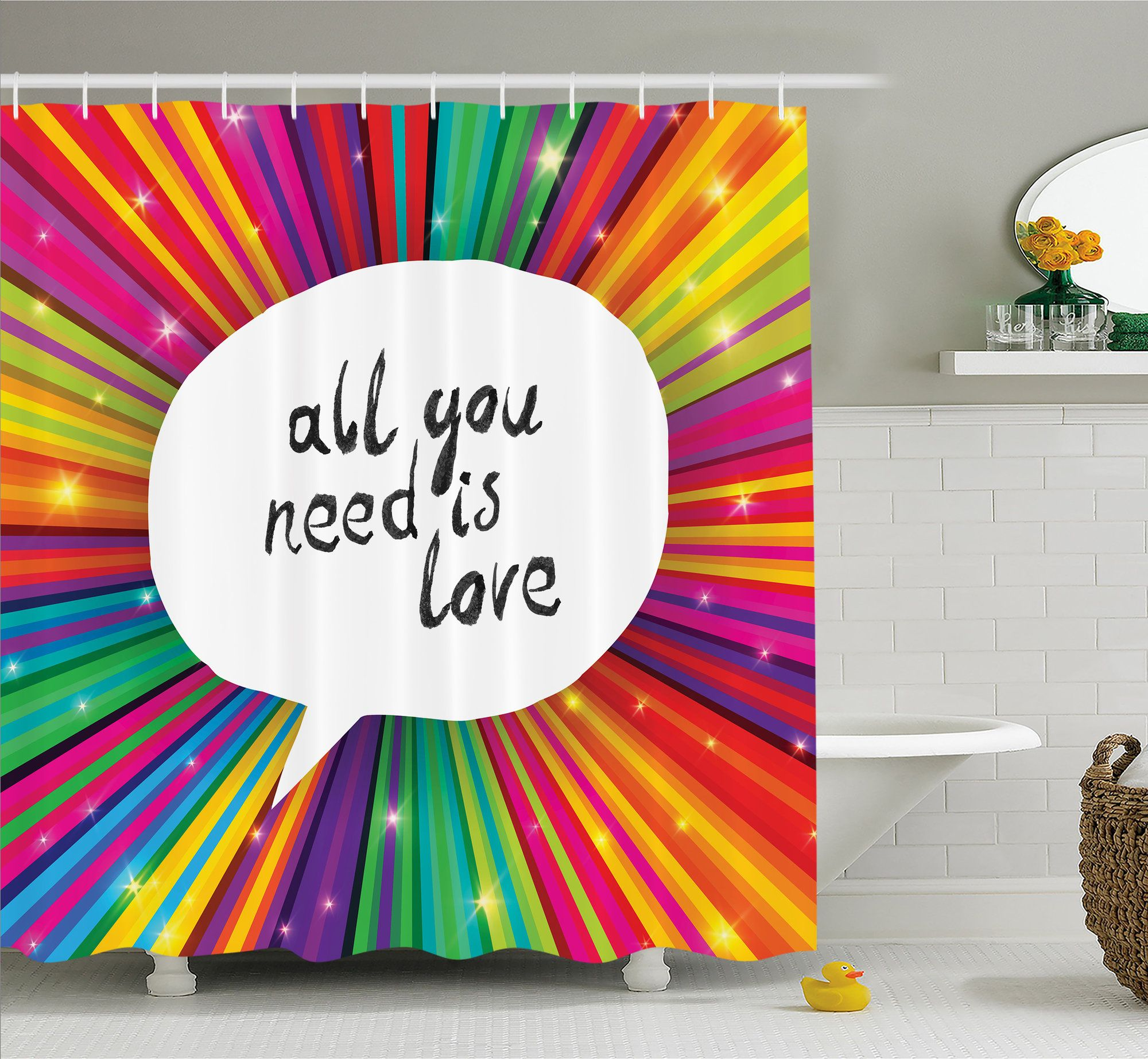 All You Need is Love Inspirational Quote Speech Bubble Hippie Retro