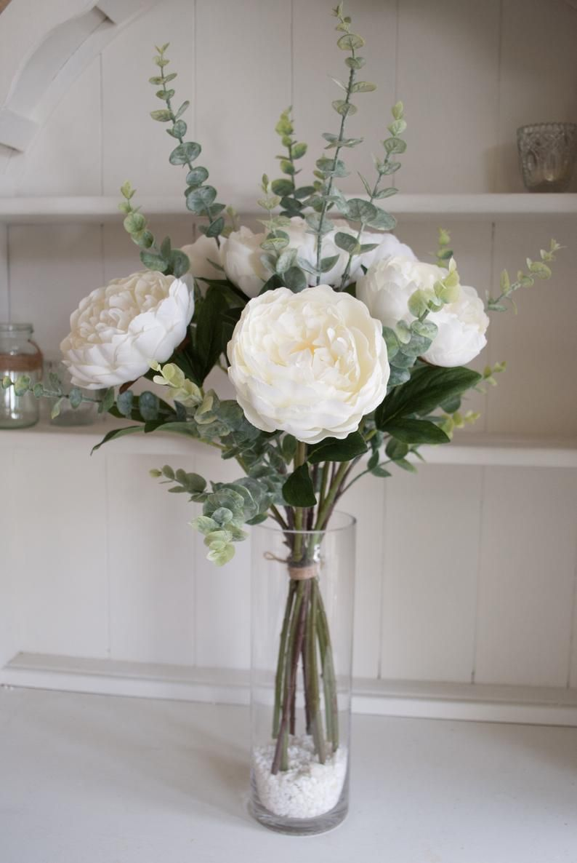 White Peonies And Eucalyptus Silk Flower Tied Arrangement Etsy In 2020 Flower Vase Arrangements Fake Flower Arrangements White Flower Arrangements