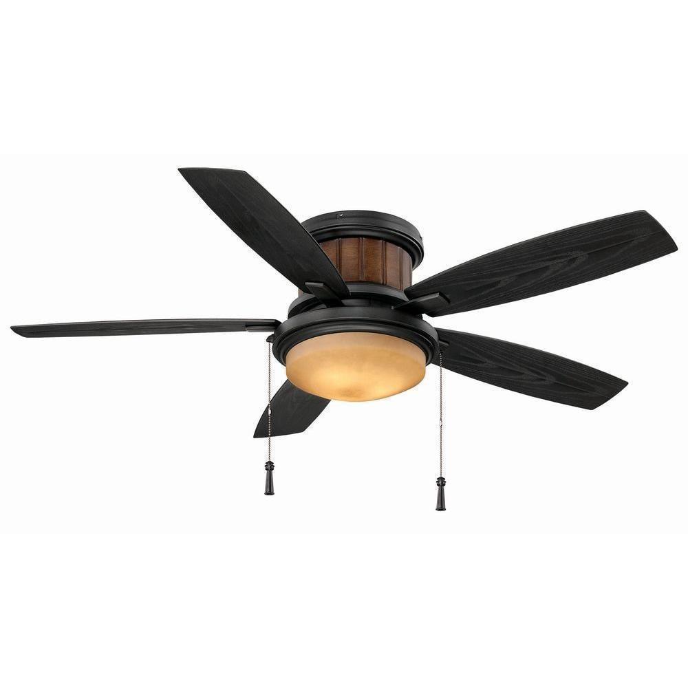 Hampton bay indoor outdoor flush mount hugger ceiling fan with light