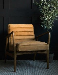 Mid Century Leather Armchair Tan