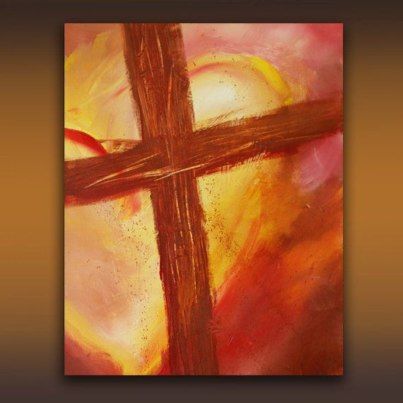Religious Flat Acrylic: Original 24 X 36 Acrylic Abstract Cross Painting Titled