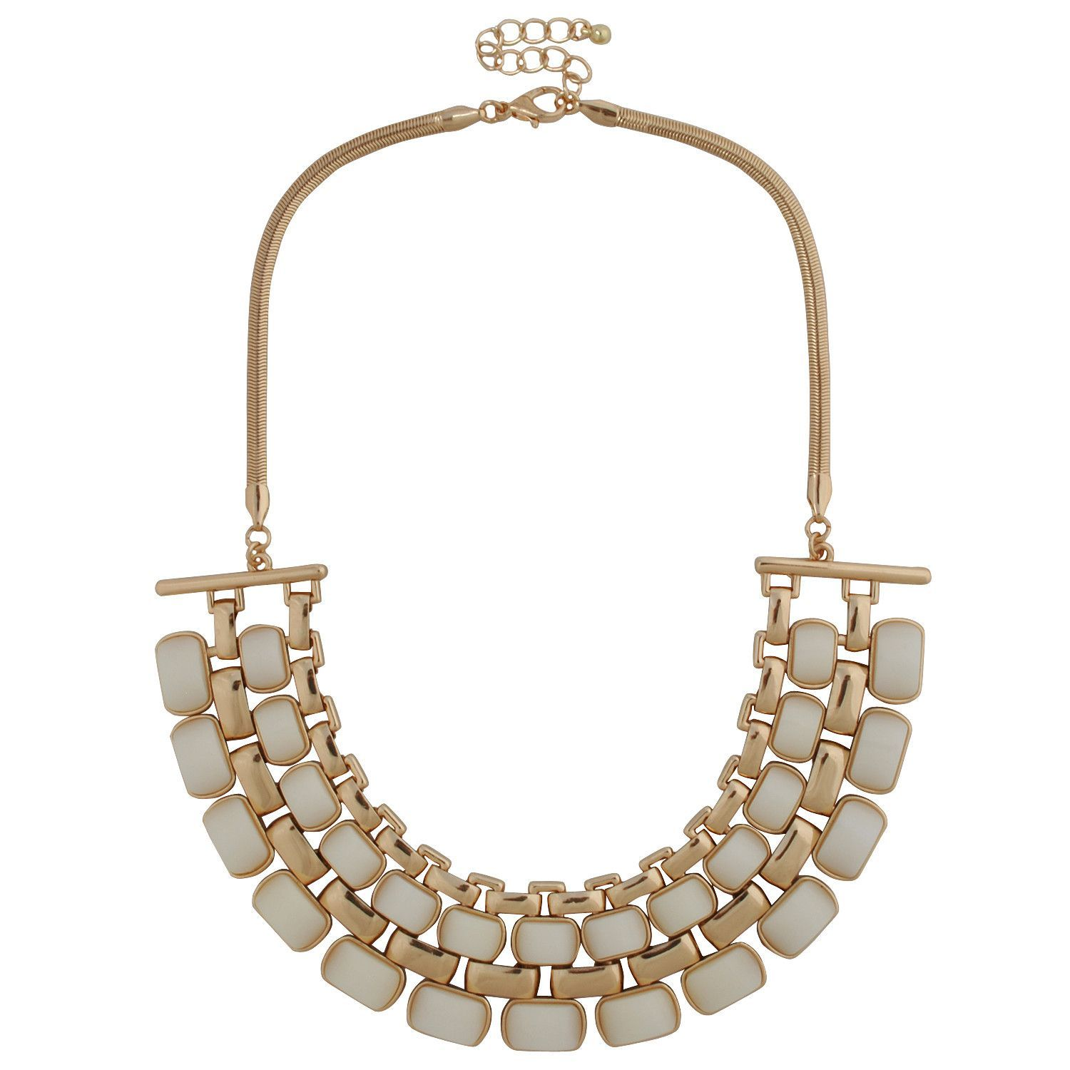 Ivory White Inlay Golden Necklace