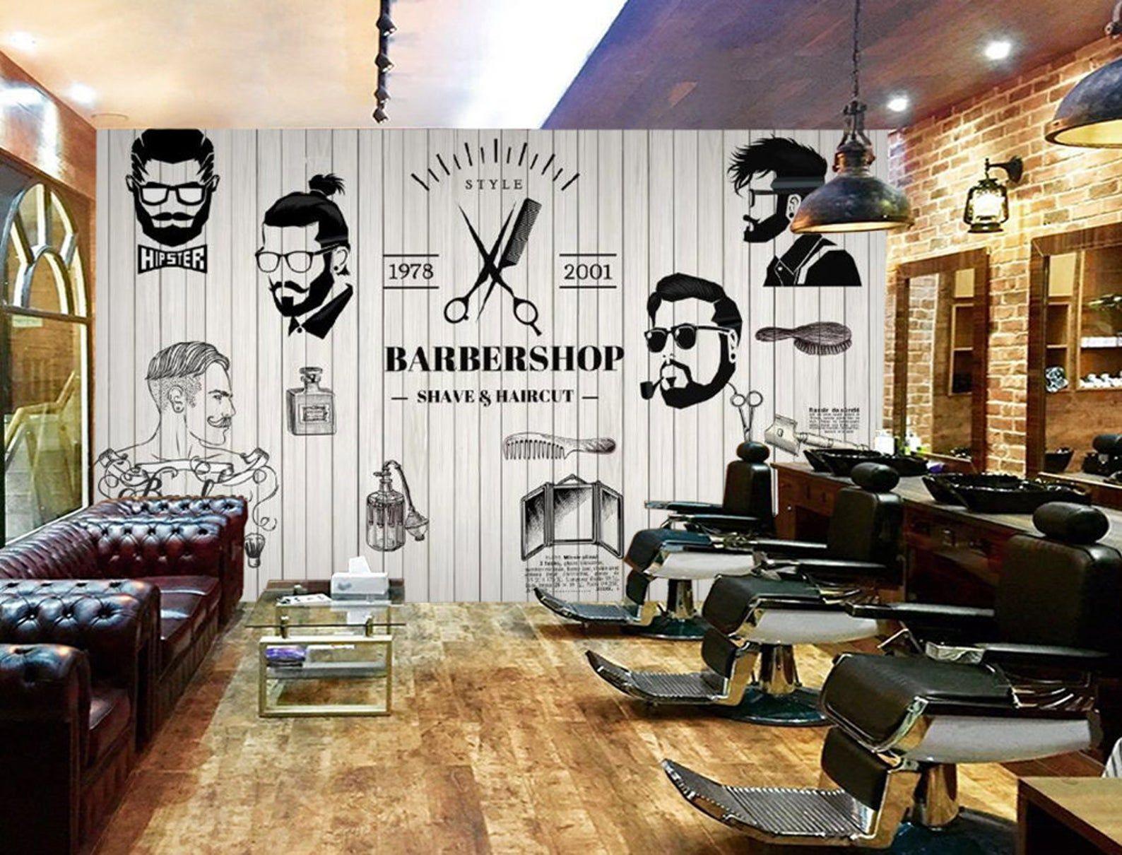 3d Barber Shop Wgn111 Wallpaper Mural Decal Mural Photo Etsy Barber Shop Interior Barber Shop Decor Barber Shop