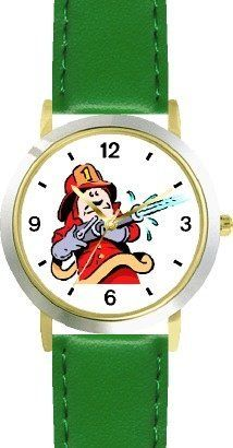 Fireman in Red Suit with Fire Hose Cartoon2 - WATCHBUDDY® DELUXE TWO-TONE THEME WATCH - Arabic Numbers - Green Leather Strap-Size-Children's Size-Small ( Boy's Size & Girl's Size ) WatchBuddy. $49.95