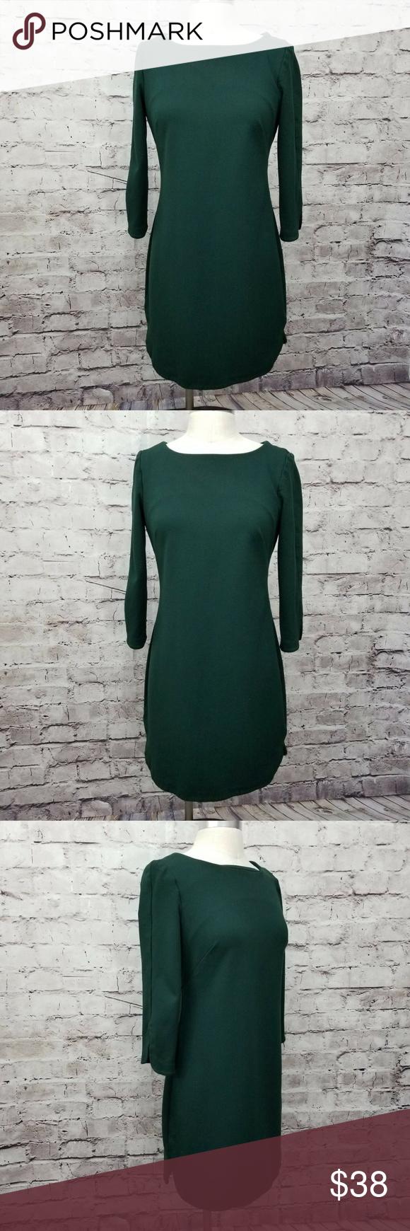 Vince Camuto Green Midi Dress Size 12 Vince Camuto Womens Size 12 Emerald Hunter Green 3 4 Sleeve Split Faced Hem Green Midi Dress Midi Dress Vince Camuto [ 1740 x 580 Pixel ]