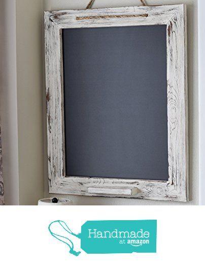 White Wood Framed Shabby Chic Chalkboard, Rustic Kitchen Chalk Marker Board  20x24 from A Latte