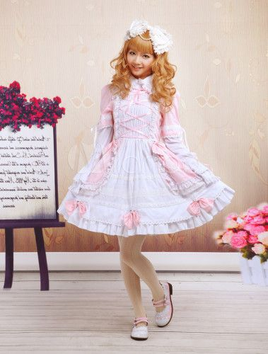 Pink And White Turndown Collar Bell Bottom Sleeve Sweet Lolita Dress - Milanoo.com
