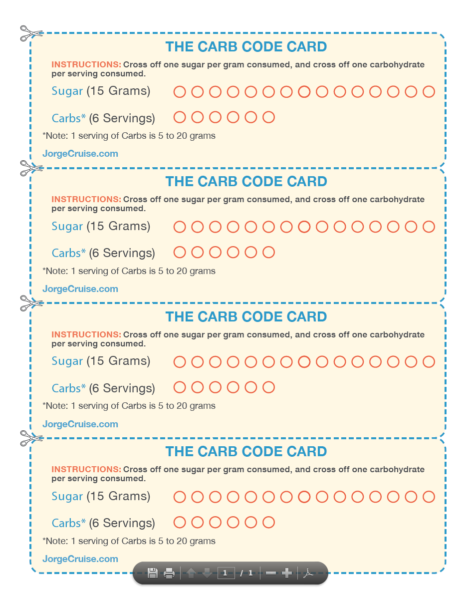 This is my Carb Code card used to track your 15 grams of sugar and 6 carb servers. Get ready to ...