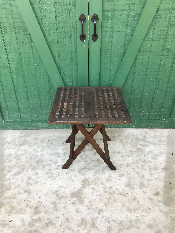 vintage teak furniture. Vintage Teak Table,Folding Table, Beach Table,Hudson Hill Teak,Basket Weave Furniture