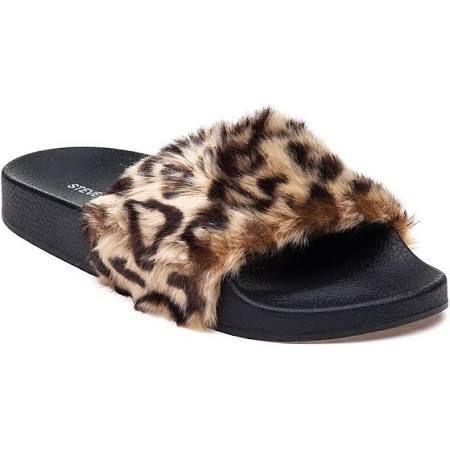 800b171ee5a Steve Madden Softey Leopard Fluffy Slide - Black 7 Medium