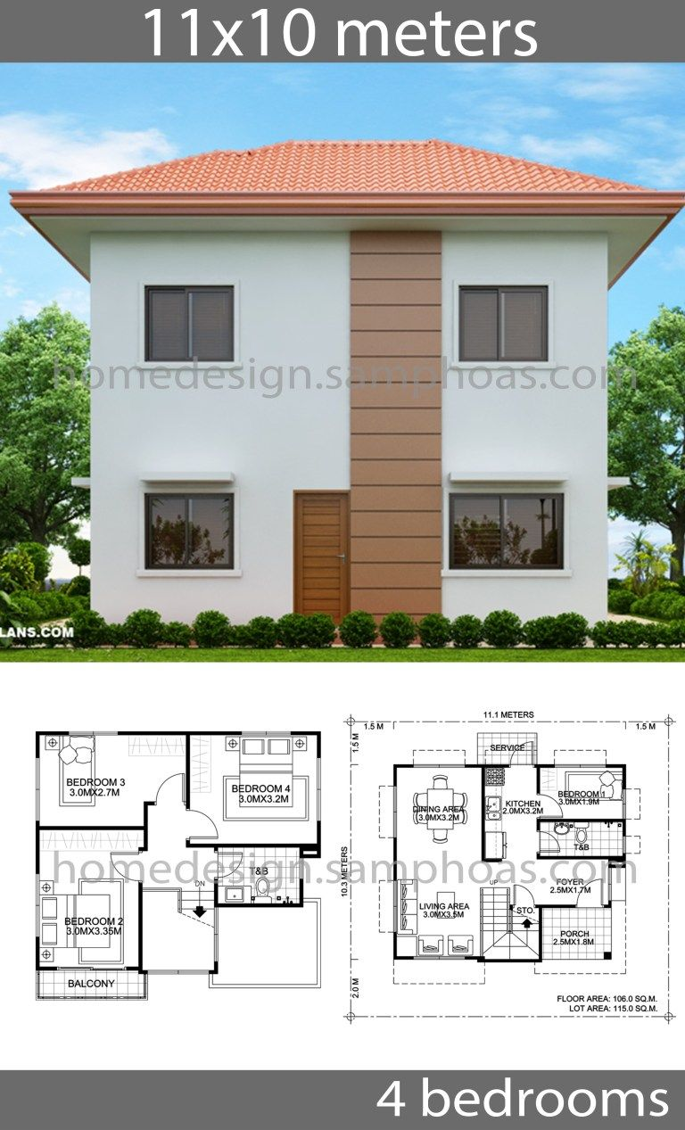 House Design Plans 10x11m With 4 Bedrooms Home Ideas Beautiful House Plans Affordable House Plans Architect Design House