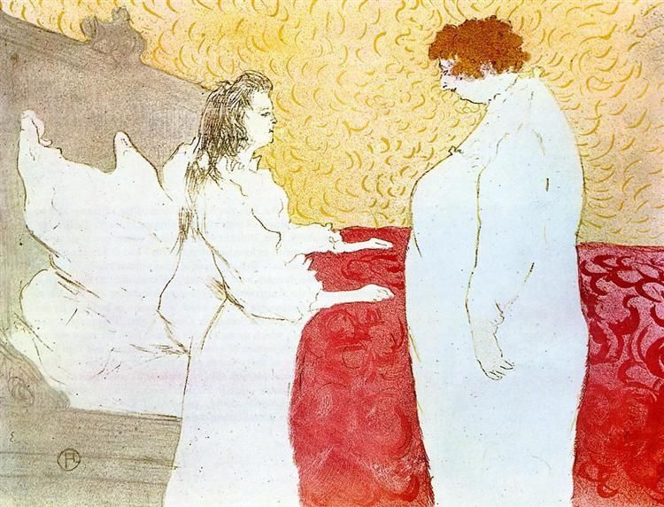 They Woman In Bed Profile Getting Up Toulouse Lautrec Henri De Painting Henri De Toulouse Lautrec Art