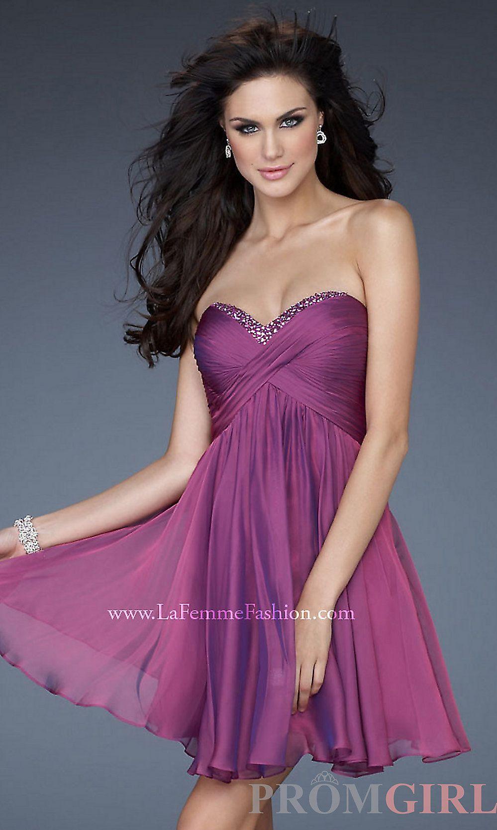 La Femme 2013 Short Strapless Open Back Prom Dresses- PromGirl ...