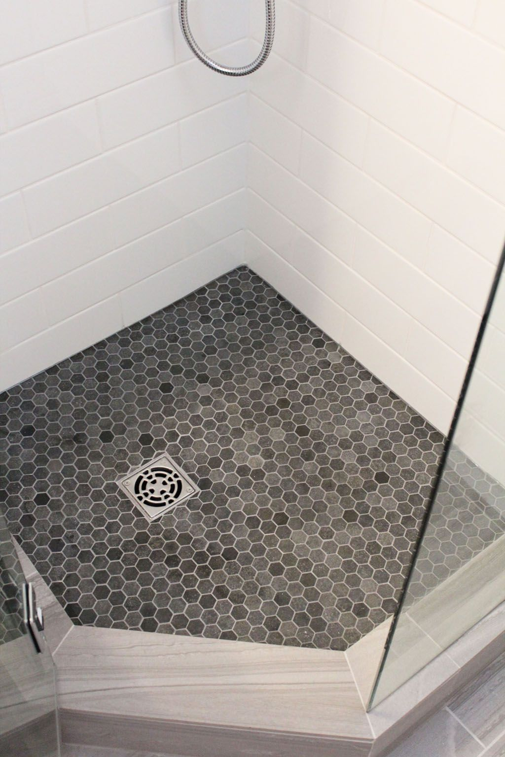 Honeycomb Floor With White Tile Shower Floor Tile Beautiful