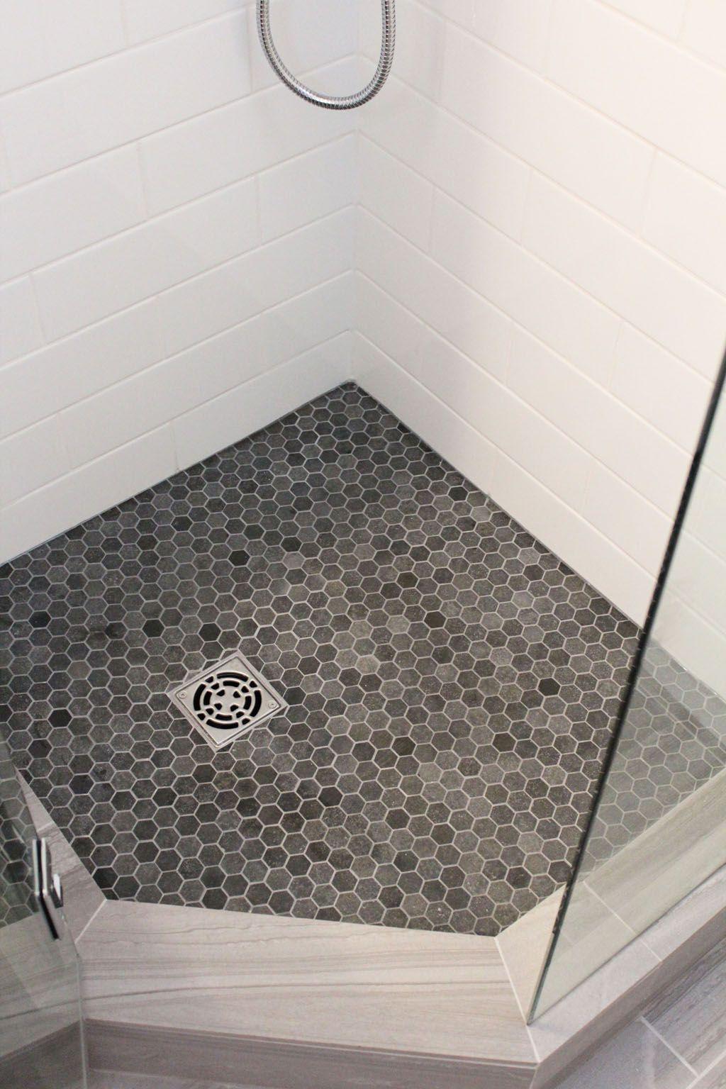 Honeycomb floor with white tile | Beautiful bathroom renovations