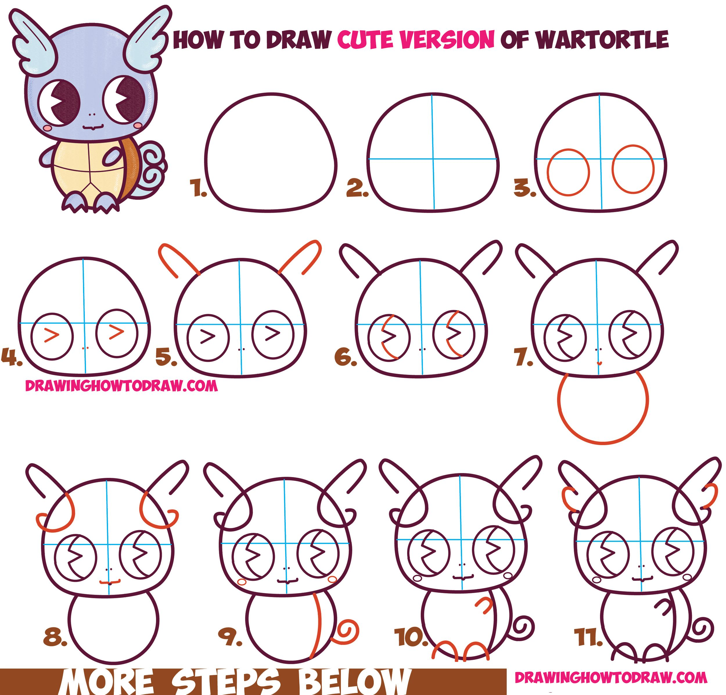 how to draw cute chibi kawaii wartortle from pokemon