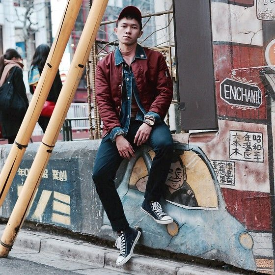 Get this look: http://lb.nu/look/8643267  More looks by Sigit Mulyansyah: http://lb.nu/gietradcliffe  Items in this look:  H&M Bomber Jacket, Zara Short Neck Sleeves, Uniqlo Denim Jacket, Uniqlo Chino Pants, Gu Sneakers   #casual #minimal #street
