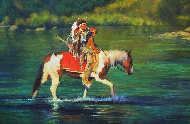 """Green River""  oil  36x24   western art / Fujiwara / Northern Cheyenne"