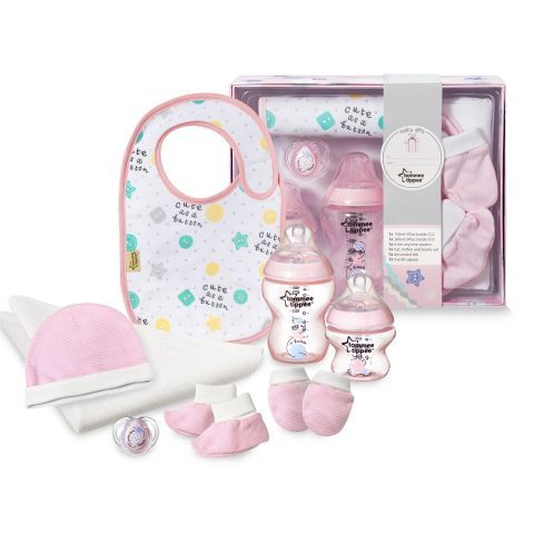 Tommee Tippee Pink Decorated Bottles Tommee Tippee Closer To Nature Bottle Feeding Gift Pack In Pink