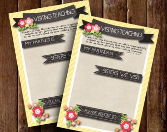 Visiting Teaching Assignment Cards, Relief Society Printable, Relief Society Helps, Visit Teach, LDS Printable, LDS Print Download