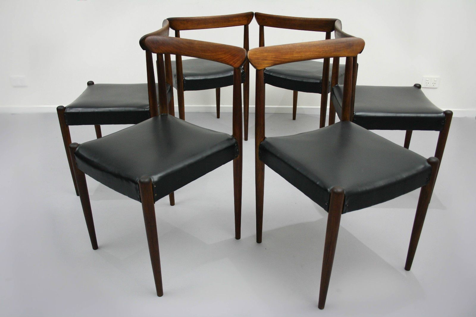 X6 Mid Century Spade Back Dining Chairs Blackwood Vintage Retro