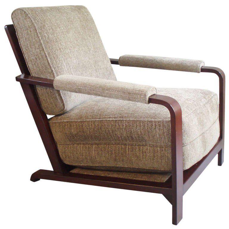 Gilbert Rohde Lounge Chair Wood Frame American Machine
