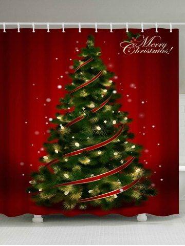 Polyester Waterproof Christmas Tree Shower Curtain Christmas