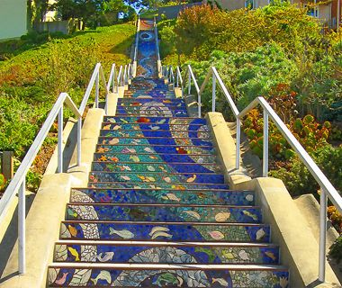 16th Avenue Mosaic Staircase - San Francisco. Very dangerous when foggy, but very pretty. Miss walks there will L-Dub!