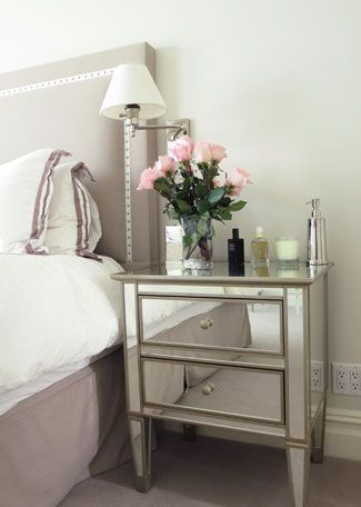 The Mirrored Bedside Table Is From Pottery Barn.