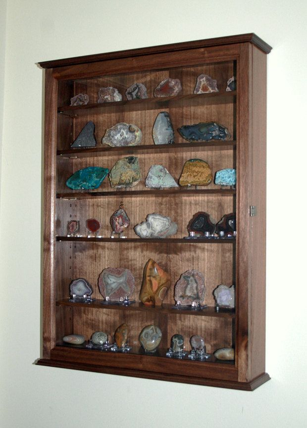 Mineral rock geode display case wall cabinet display for Mineral wall