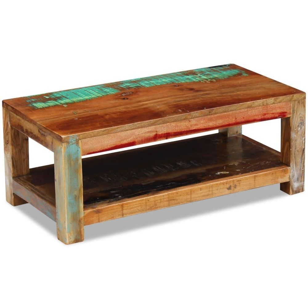 Homfa Couchtisch Rectangular Coffee Table Reclaimed Wood Shelf Storage Living Room