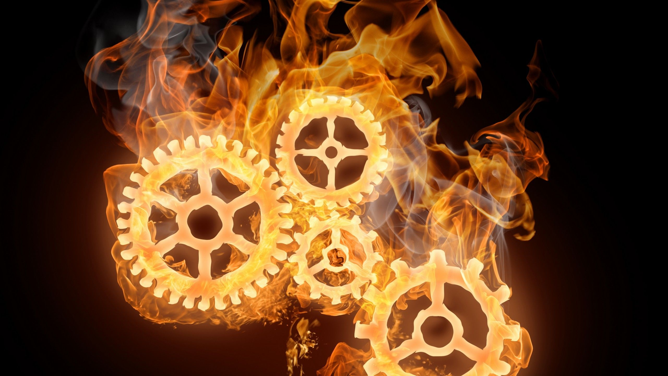 Steampunk Cog Wheels Steampunk Fire Flames Smoke 3D
