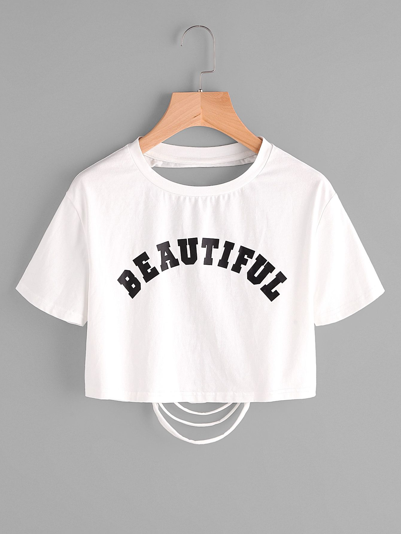 29c98bdd32 Shop Letter Print Ripped Back Crop T-shirt online. SheIn offers Letter Print  Ripped Back Crop T-shirt & more to fit your fashionable needs.