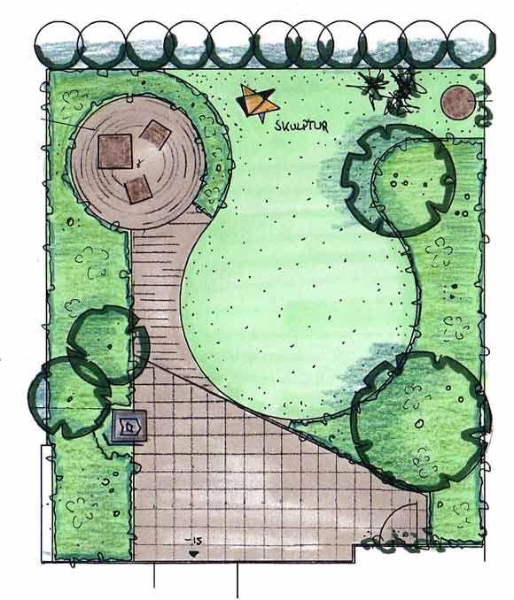 Garten mit Sonnenterrasse planen: Variante 2 | Garten | Pinterest ...