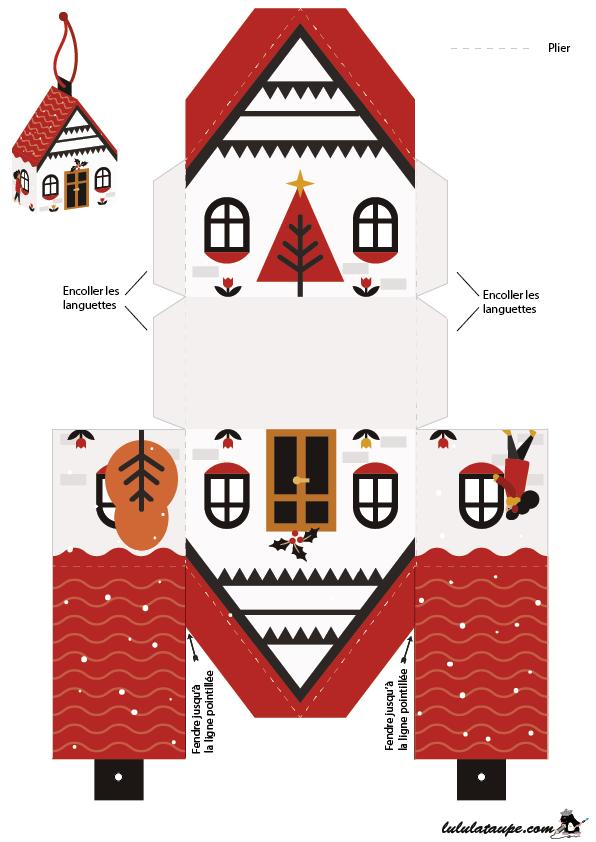 Bo te de no l en forme de maison imprimer sur papier cartonn id es de bricolage enfants - Maison papier a decouper ...