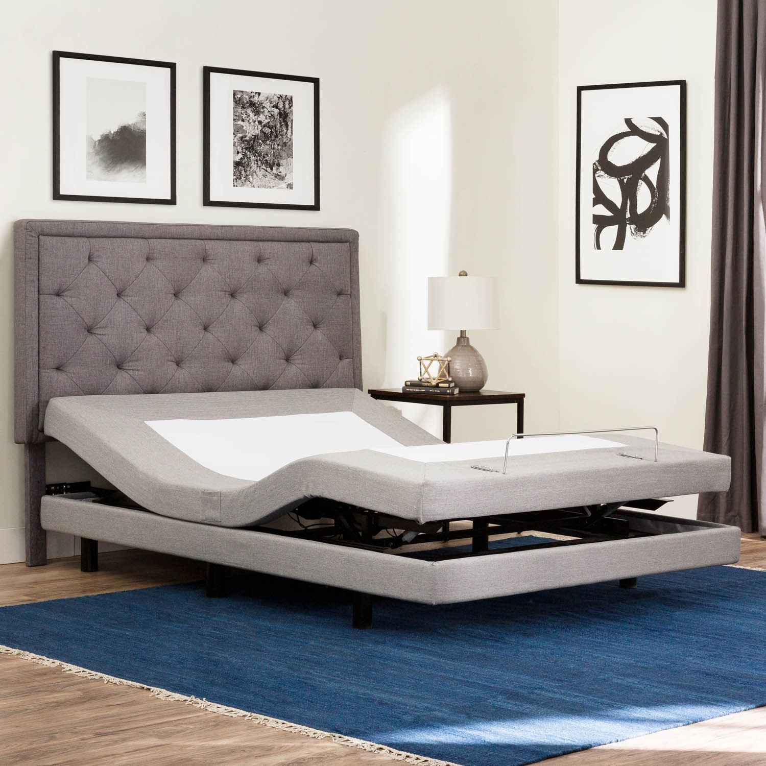 Brookside Deluxe Adjustable Bed Base Queen (Queen), Gray