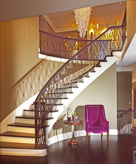 Interior Home Decoration Indoor Stairs Design Pictures: Dramatic Entryway, Crystal Chandelier And Elaborate Metal
