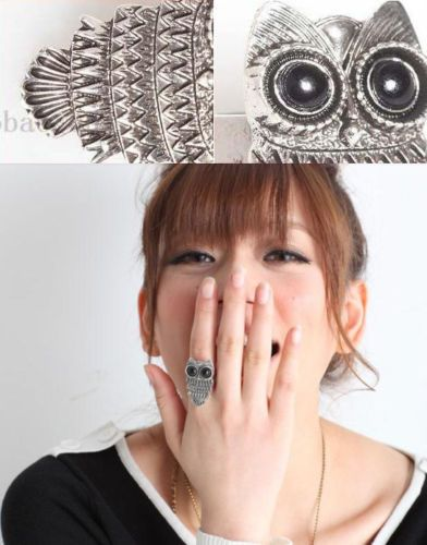 Fashion Charm Punk Rock Ancient Silver Cute Owl Shape Adjustable Ring Jewelry