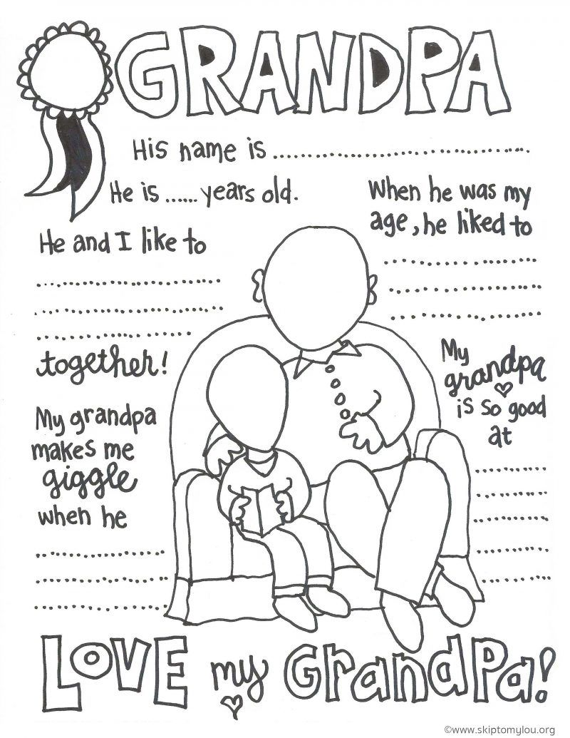 Childrens fathers day coloring pages - Grandparent Coloring Pages For Grandparents Day