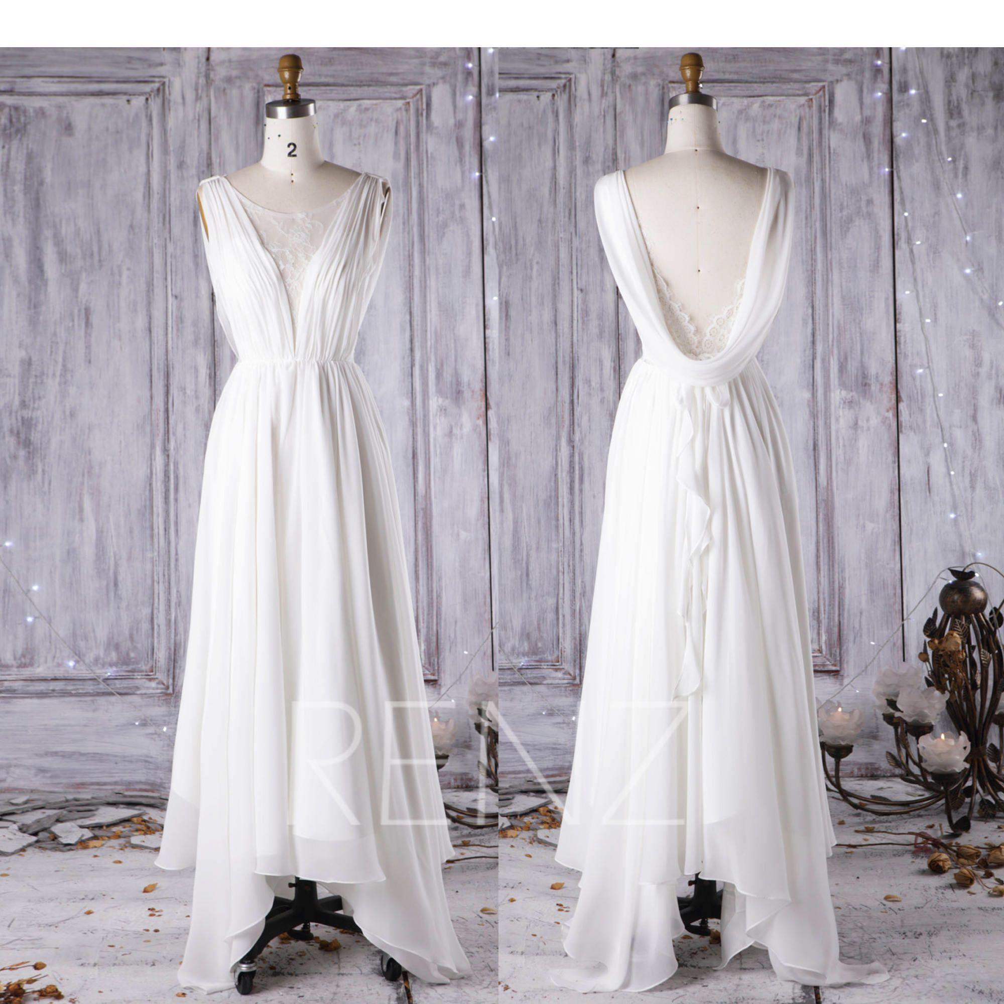 Off white chiffon long bridesmaid dressscoop neck lace wedding