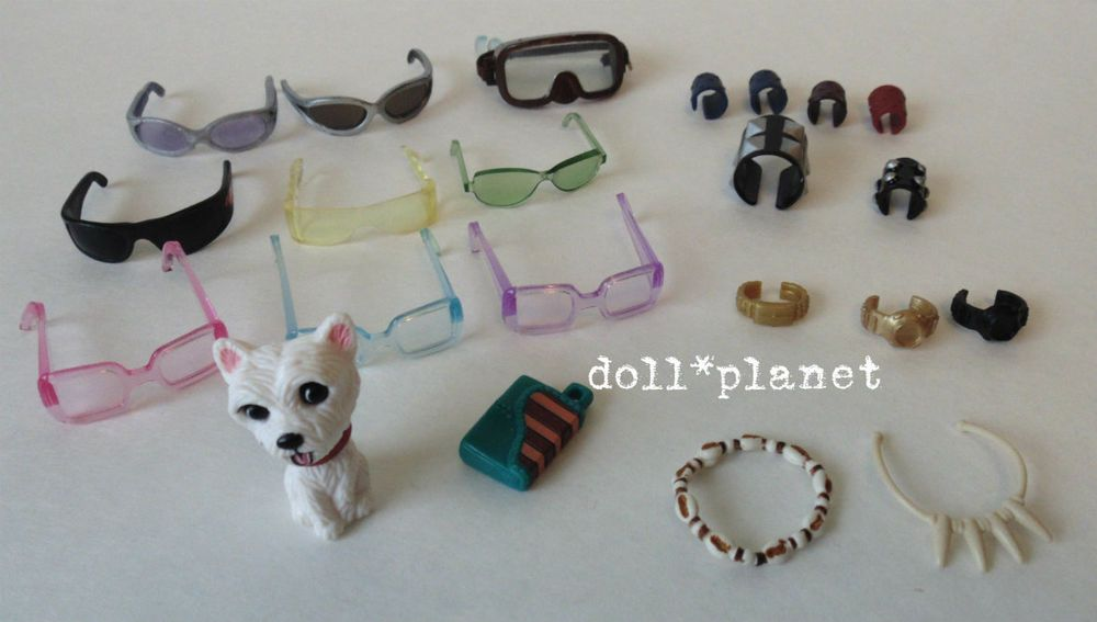 MY SCENE BARBIE DOLL ACCESSORIES LOT - Sunglasses Dog Watches Boy Necklaces etc