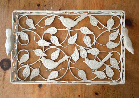Large Decorative Serving Trays Amusing Large White Enamel Serving Tray  Enamel Bird Metal And Glass Decorating Inspiration