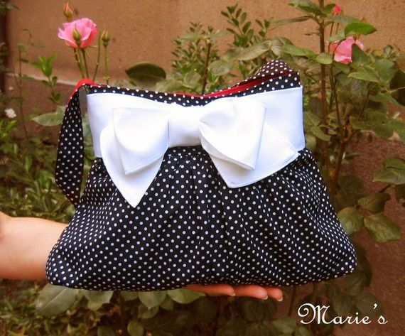 Polka Dots Black  Handbag with a Bow in Retro Style Made to Order on Etsy, $48.00