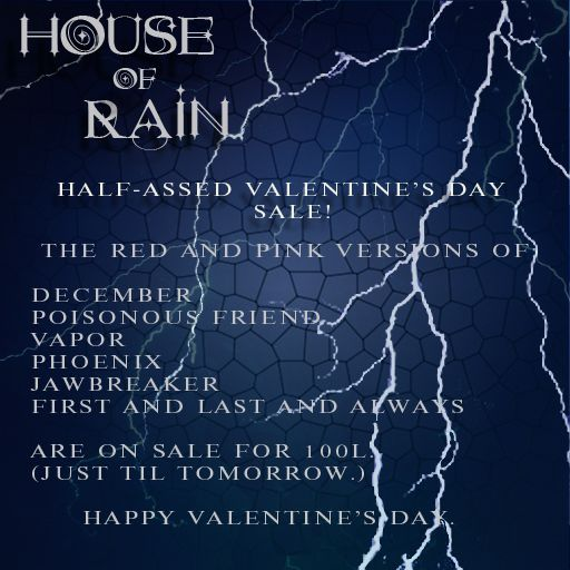 Sale at House of Rain http://maps.secondlife.com/secondlife/Port%20Seraphine/41/46/28