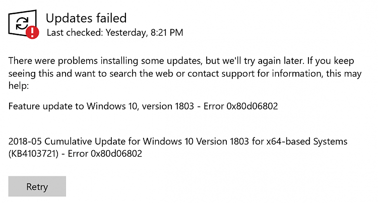 Windows 10 1903 Cumulative update KB4512941 failed to