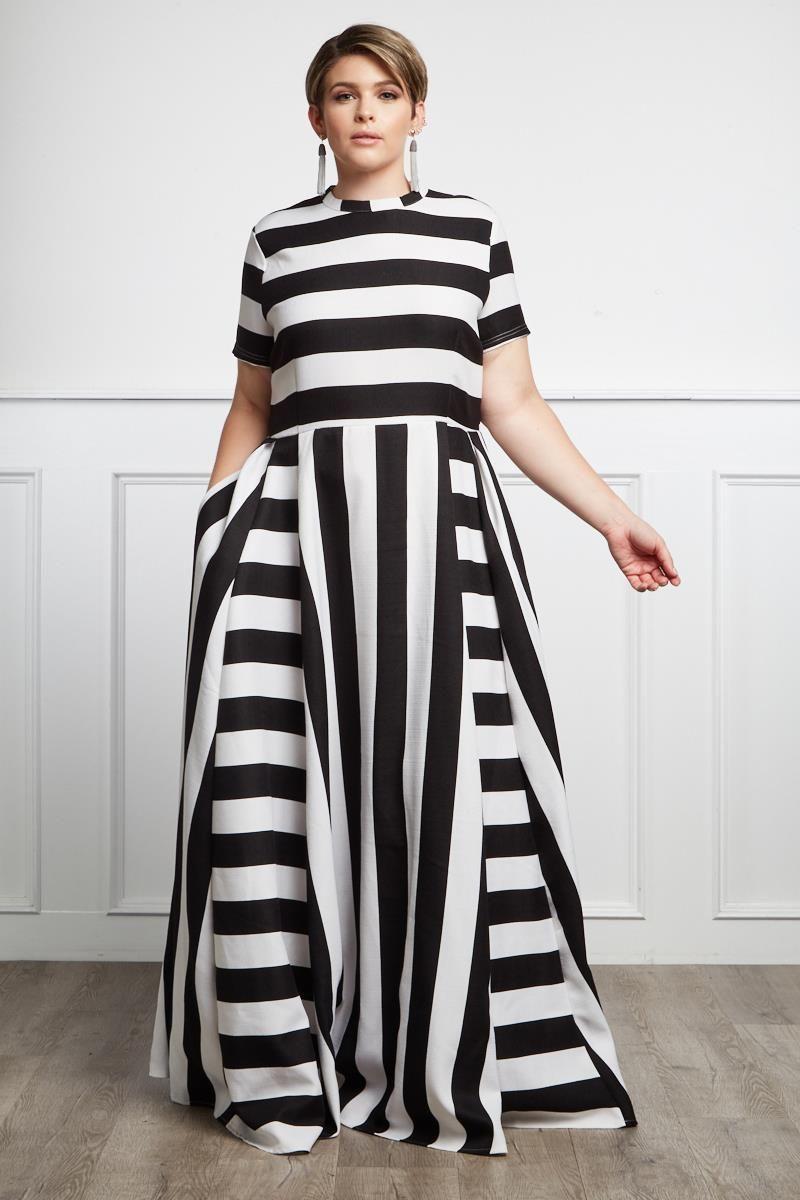 Chic Trail Plus Size Striped Maxi Dress | plus size black & white in ...