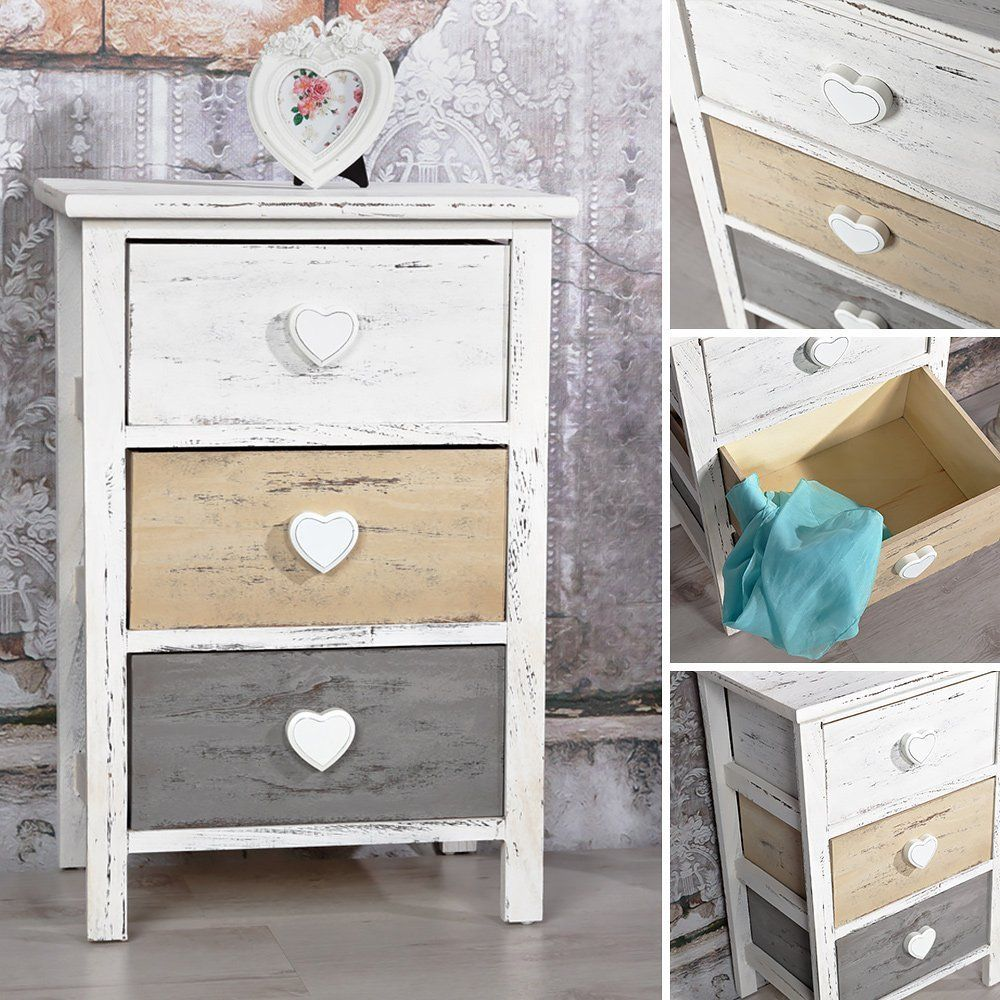 kommode shabby schrank mit 3 schubladen herz deko wei grau braun used look holz. Black Bedroom Furniture Sets. Home Design Ideas