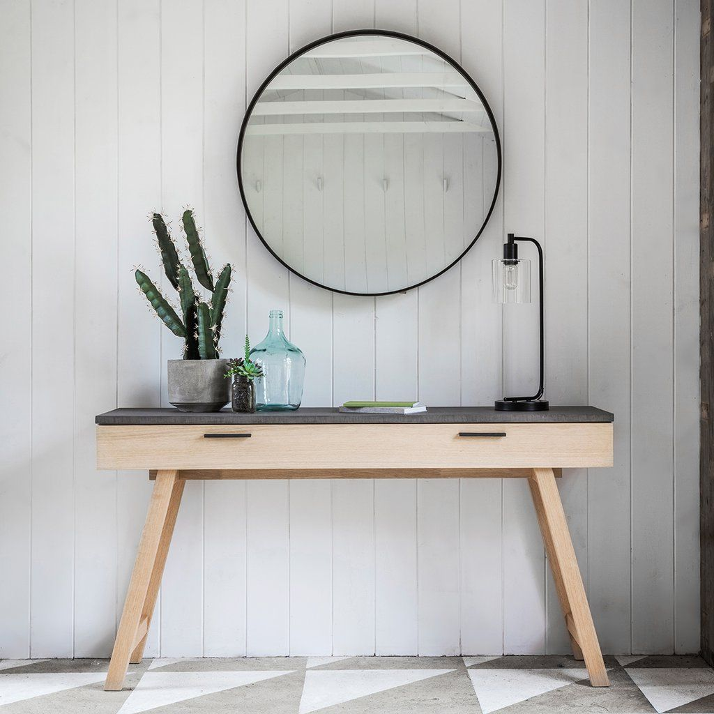 Gallery Chilson Faux Concrete Oak Console Table Homelia Com