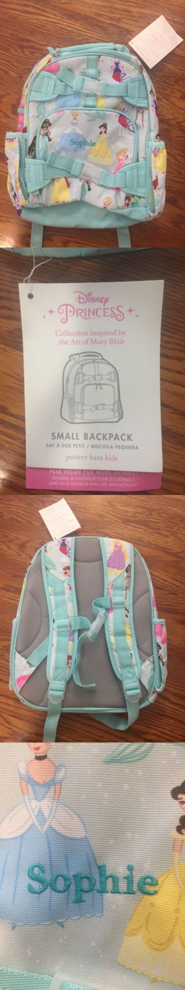 Backpacks 57917 Pottery Barn Kids Small Disney Princess Aqua Sophie Backpack New With Tags Nwt