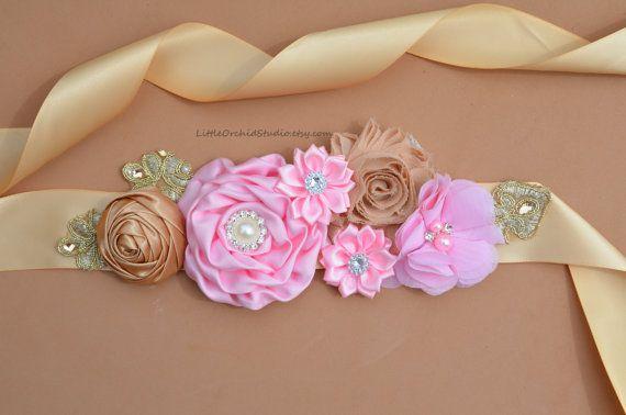 Pink And Gold Maternity Sash Belt,Baby Showers Vintage Belt Flower Girl Sash